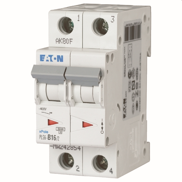 MOELLER - Disjoncteur PLS6-C16/2-MW , C 16A , 2 pôles , 6 kA