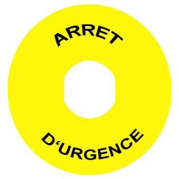 TELEMECANIQUE - Étiquette - Ø22 - Ø60mm - ARRET D'URGENCE