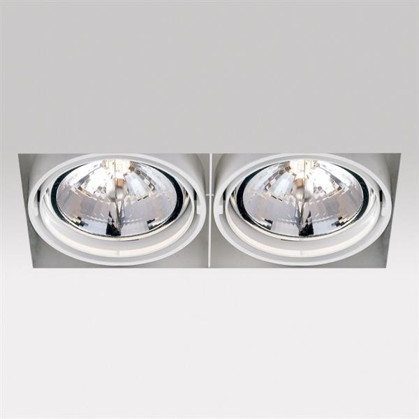 DELTA LIGHT - Grid in Trim 2 QR Inbouwdownlight 2x100W QR-LP111 G53 12V 0-30° IP20 wit