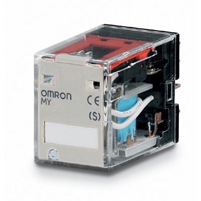 OMRON - Relais miniature, 100/110 Vc.c., 4 inverseurs, 5 A, montage sur socle