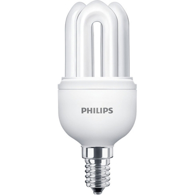 PHILIPS - GENIE 8W E14 230V warm wit 2700K 425lm CRI80 spaarlamp stick 10000u