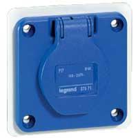 LEGRAND - Socle droit entr.u. P17 Tempra bleu - 250 V - 16 A - 2 P + T