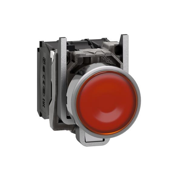 TELEMECANIQUE - Verlichte drukknop geel Ø22 - impulscontact verzonken - 24V - 1NC + 1NO