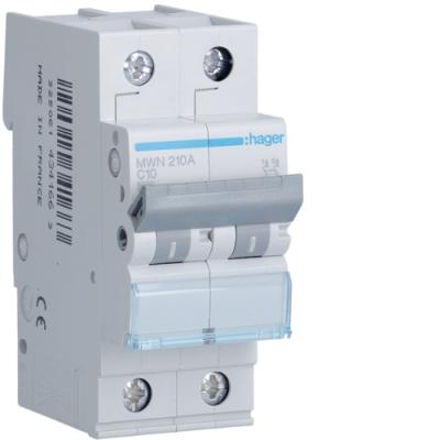 HAGER - Automaat 3kA - C - 2P - 10A - 2M