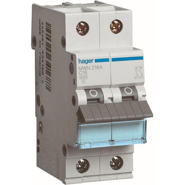 HAGER - Automaat 3kA - C - 2P - 16A - 2M