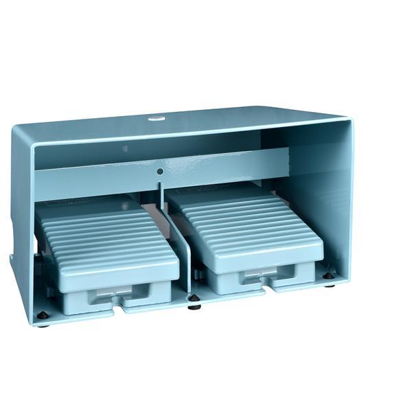 TELEMECANIQUE - Dubbele voetschakelaar XPE-M - met beschermkap - metaal - blauw - 4NC+4NO