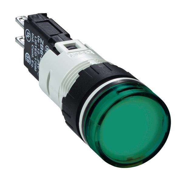 TELEMECANIQUE - controlelamp rond Ø16 - IP 65 - groen - ingebouwde LED - 24 V - kabelschoen