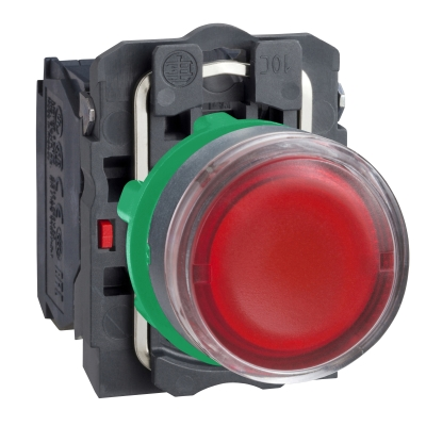 TELEMECANIQUE - verlichte drukknop rood Ø 22 - impulscontact  verzonken- 24 V - 1 NC + 1 NO