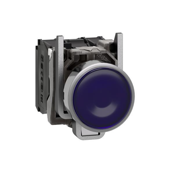 TELEMECANIQUE - Verlichte drukknop blauw Ø22 - impulscontact verzonken - 240V - 1NC + 1NO
