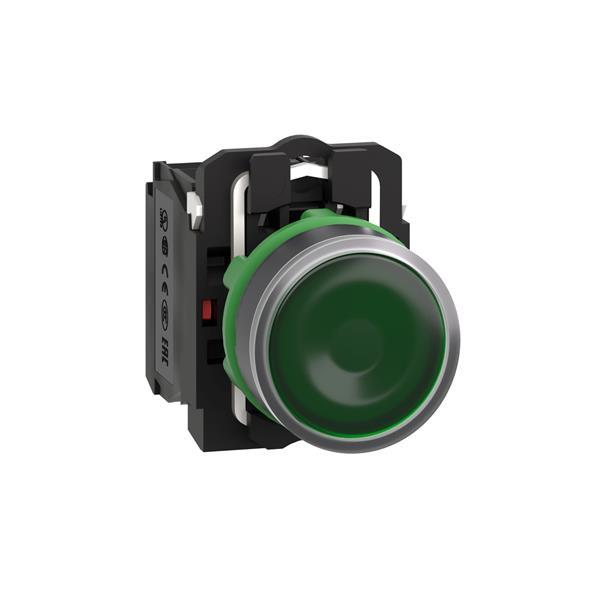 TELEMECANIQUE - verlichte drukknop groen Ø 22 - impulscontact  verzonken - 24 V - 1 NC + 1 NO