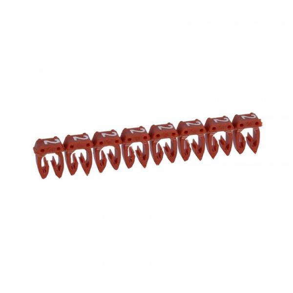 LEGRAND - CAB 3 merkteken - cijfer 2 rood - doorsnede 1,5-2,5 mm²