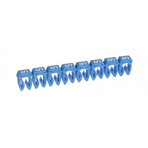 LEGRAND - CAB 3 merkteken - cijfer 6 blauw - doorsnede 1,5-2,5 mm²