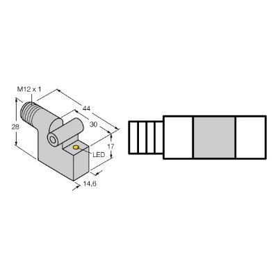 Multiprox - Sensor bondig magneet-inductief metaal PNP 10-30VDC LED conn M12