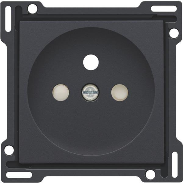 NIKO - Centraalplaat enkelvoudig voor wandcontactdoos 2P+A (pen)+veiligheid, antraciet