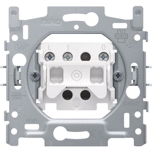 NIKO - Sokkel drukknop 10A 250V AC, NO, met aansluitklemmen