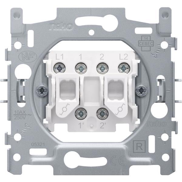 NIKO - Socle interrupteur va-et-vient double 10A 250V AC