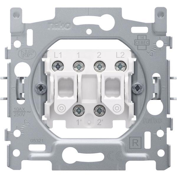 NIKO - Socle double bouton poussoir 10A 250V AC, NO/NF