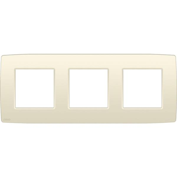 NIKO - Plaque de recouvrement (71mm) triple horizontal, crème
