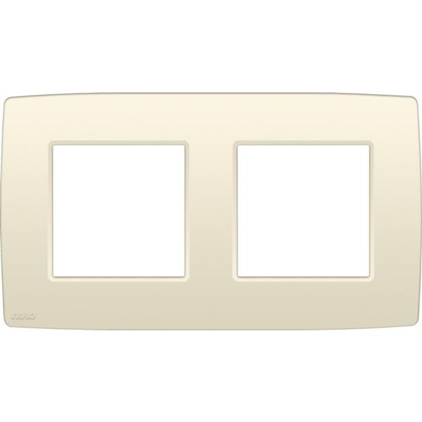 NIKO - Afdekplaat (71mm) 2-voudig horizontaal, crème