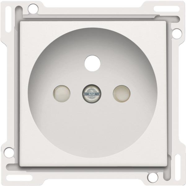 NIKO - Centraalplaat enkelvoudig voor wandcontactdoos 2P+A (pen) en veiligheid, wit