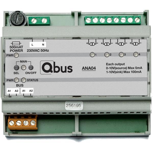 Qbus - Variateur analogue (4x 0/1-10V), avec commande manuelle et indication LED