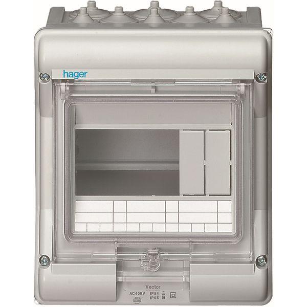 HAGER - Waterdichte verdeelkast IP65 - 6 M.