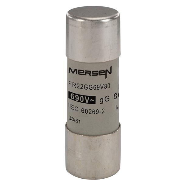 Mersen - Fusible cylindrique 22x58 gG 80A 690V sans voyant
