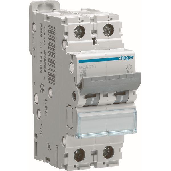 HAGER - Automaat 6kA - C - 2P - 16A - 2M.