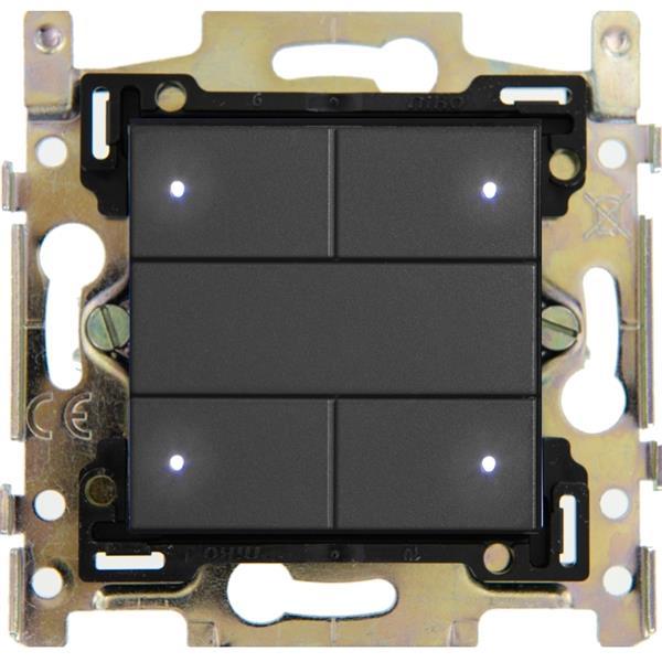 Qbus - Interrupteur 4 boutons série Niko Anthracite 122 RGB
