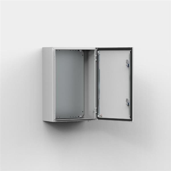 ELDON - Wandkast, 600x500x210, 1-deur, met MP, plaatstaal, IP66