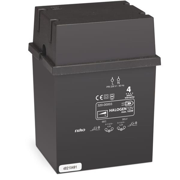 NIKO - Transformateur éléctromagnétique 105W avec borniers, IP20