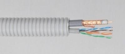 CABLEBEL - Elflex tube précâblé 20mm + coax 75 Ohm Telenet PVC gris <30m + U/UTP CAT5e