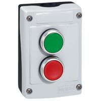 LEGRAND - Osmoz drukknopkast - grijs - groen  I  + NO en rood  0  + NG