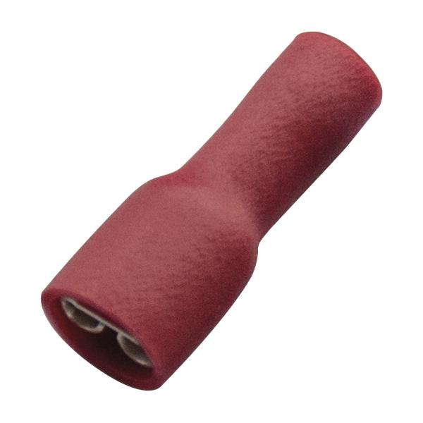 Haupa - Vlakstekerhuls, volledig geïsoleerd PVC, 0,5-1mm², stekker 6,3x0,8mm, rood
