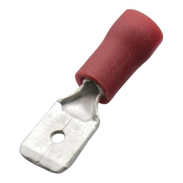 Haupa - Vlaksteker, geïsoleerd PVC, 0,5-1mm², stekker 6,3x0,8mm, rood