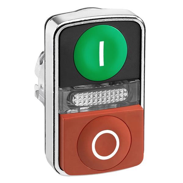 TELEMECANIQUE - tête bouton-poussoir double touche - Ø 22 - vert + rouge - E - S - IP66, IP69K