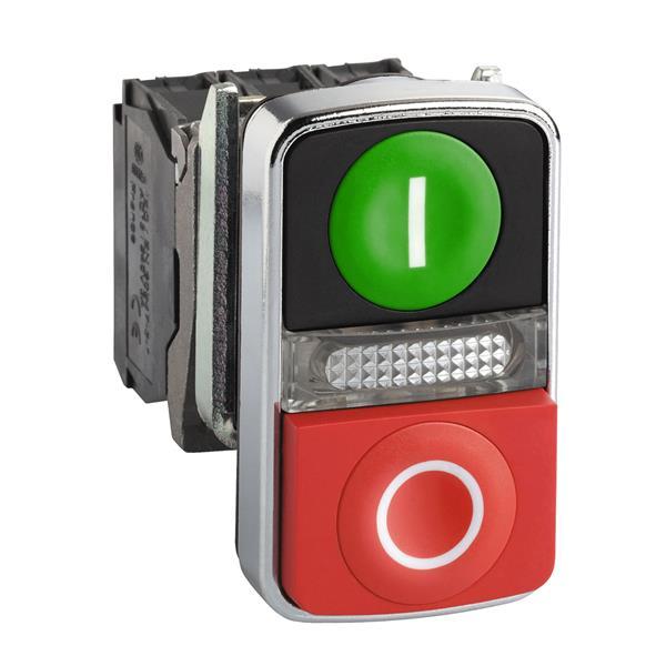 TELEMECANIQUE - groene verzonken/rode uitstekende en verl. dubbele drukknop Ø 22 1NO+1NC 24 V