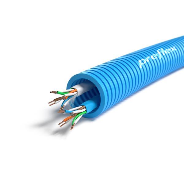 CABLEBEL - Preflex tube précâblé 20mm + câble data 2x U/UTP CAT5e 4P PVC rouleau 100m