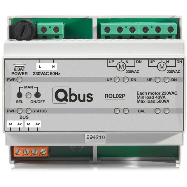 Qbus -  met dubbele positionering (OP/NEER + lamellen)