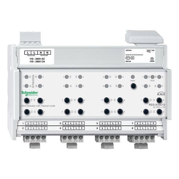 Gardy - Actionneur de volets/stores KNX REG-K 8x10A à actionnement manuel, gris clair