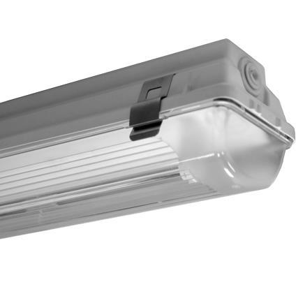 PIL - Acro XS waterdicht armatuur 1x49W T5 polycarbonaat met inox clips iP65