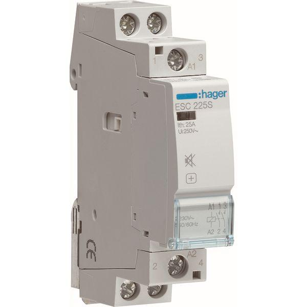 HAGER - Contactor geruisloos - 2x25A - 230V/220VDC - 2NO