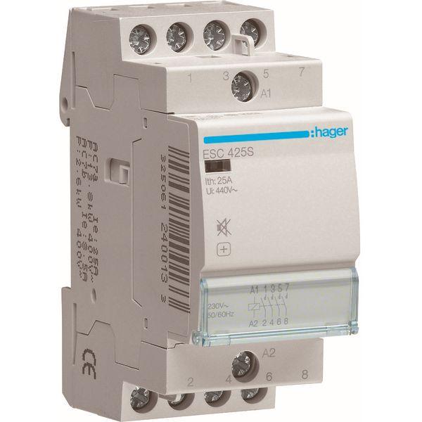 HAGER - Contactor geruisloos - 4x25A - 230V/220VDC - 4NO