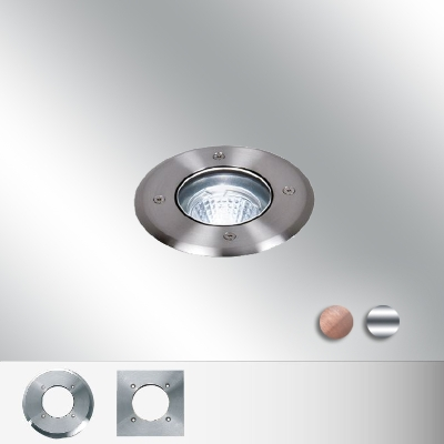 Bel-Lighting - Bolas spot encastré sol rond 1x7W fluo Gu10 230-240V H95xD100mm inox