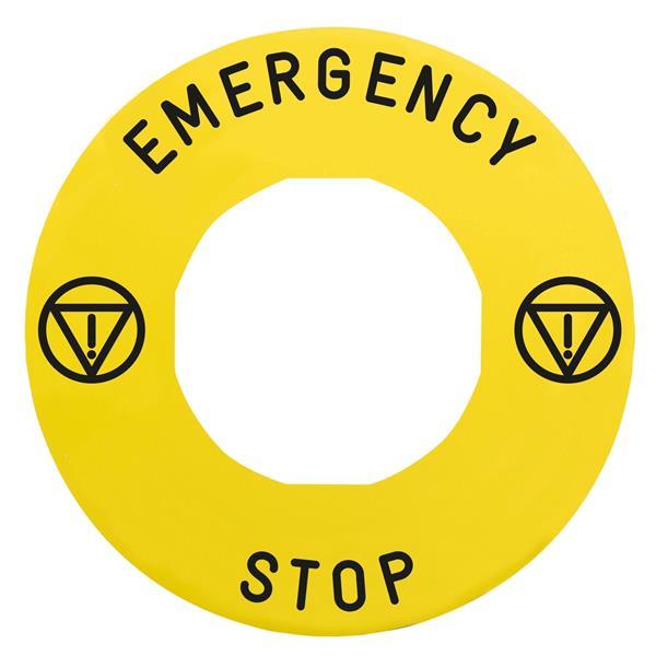 TELEMECANIQUE - etiket met markering Ø60 voor noodstop - NOODSTOP/logo ISO13850