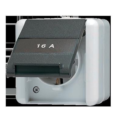 Jung - Prise saillie 2P+A(latérale) 16A 250V couvercle + porte-étiq. WG800 blanc/anthr.