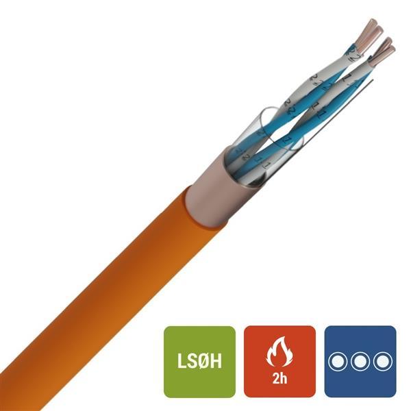 Veiligheidskabel - EUROSAFE NBN 713-020 Rf 2h LS0H oranje 500V 2X2X0,9mm
