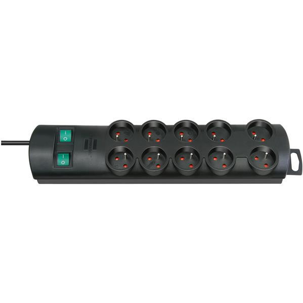 BRENNENSTUHL - Multiprises Primera Line, 10 prises conforme à Cebec, noir, câble d'alimentation