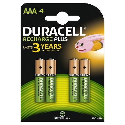 DURACELL - Oplaadbare batterij Recharge Plus - AAA - 1,2V 750mAh - NiMH - blister 4 stuks