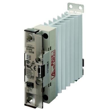 OMRON - SSR 1-fase, koellichaam, LED, afdekkap, nuldoorgang, 12-24V DC, 25A